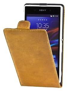 Perfect Case Stil Better Echtleder Flip Case für Sony Xperia Z1 braun