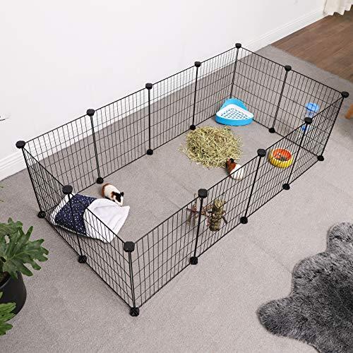 SONGMICS Verstellbares Laufgitter für Kleintiere und Meerschweinchen inkl Gummihammer Gittergehege für Innen individuell zusammenbaubar 143 x 73 x 36 cm (B x H x T) schwarz LPI01H - 2