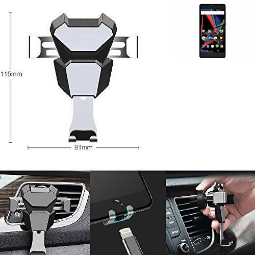 Per Archos 55 Diamond Selfie Lite Supporto staffa compatta attacco di sfiato Scanalatura della griglia di ventilazione argento nero auto veicolo a motore Porta smartphone Condotto dell'aria mobile per Archos 55 Diamond Selfie Lite - K-S-Trade(R)