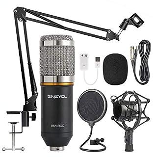 ZINGYOU Kondensator-Mikrofon Bundle, BM-800 Mic Kit mit verstellbarem Mic Suspension Scissor Arm, Shock Mount und Double-Layer Pop Filter für Studio Recording & Broadcasting