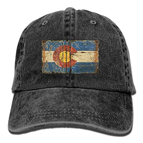 Nifdhkw Vintage Colorado Flag Unisex Adjustable Baseball Caps Denim Hats Cowboy Sport Outdoor