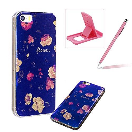 per iPhone 6 Plus/ 6S Plus Custodia case,Herzzer Mode Crystal Creativo Elegante lusso di Blu Glitter Bling stampato Quadro Dipinto Design shell,Ultra slim sottile morbido TPU Silicone Gel flessibile P Rosa rose
