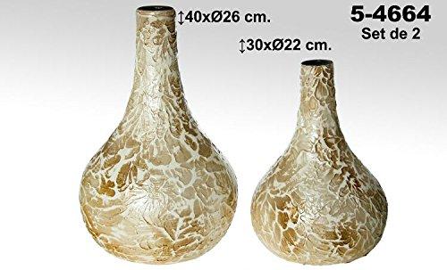 DonRegaloWeb-Set di 2vasi di ceramica di terracotta decorato COLOR ORO