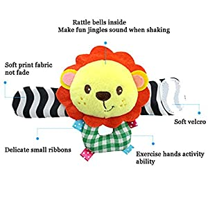 Deardeer 4 x Baby Infant Soft Toys Animal Wrist Rattles Hands Foots Finders Developmental Toys-Lion and Panda