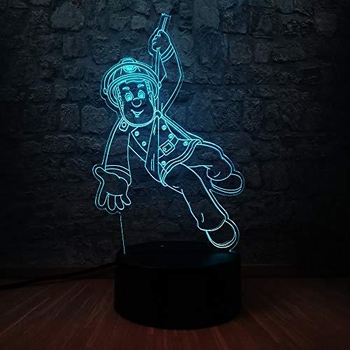 17249b1037 Cartoon 3D Acryl Figur Feuerwehrmann Sam LED Nachtlicht 7 Farbwechsel  Kinderzimmer Schlaf Lampe Kinder Urlaub Geburtstagsgeschenk Spielzeug