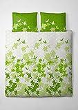 etérea Renforcé Baumwolle Bettwäsche Osaka Schmetterlinge Grün, 200x200 cm