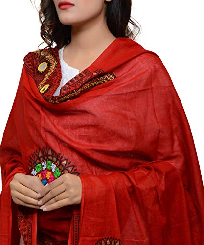 Banjara Women'S Cotton Stoles & Dupattas Kutchi Mirrorwork (Kch03 _Blood Red _Handicraft Dupatta_Free Size)