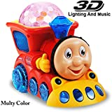 Funnytool Bump And Go Musical Toy Train Thomas Engine With 4D Light And Music For Kids (Colour May Vary)