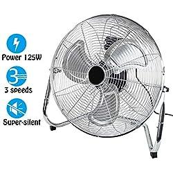 """Dawoo18""""Ventilateur industriel 50cm Ventilateur sur pied 3 vitesses Puissant ventilateur de plancher à haute vélocité 125W , Fit pour atelier, entrepôt (argent)"""