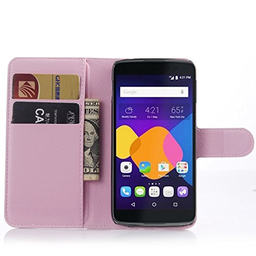 Tasche für Alcatel OneTouch Idol3 (4.7 zoll) Hülle, Ycloud PU Ledertasche Flip Cover Wallet Case Handyhülle mit Stand Function Credit Card Slots Bookstyle Purse Design rosa