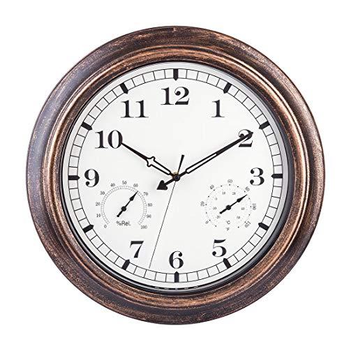 MRKE Reloj Pared con Termómetro y Higrómetro, 46CM XXL Grande Vintage Silencioso Impermeable Reloj...