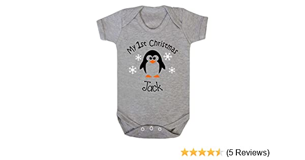 Baby Grow 1st Christmas Personalised Penguin Xmas Present Vest Boy Girl First