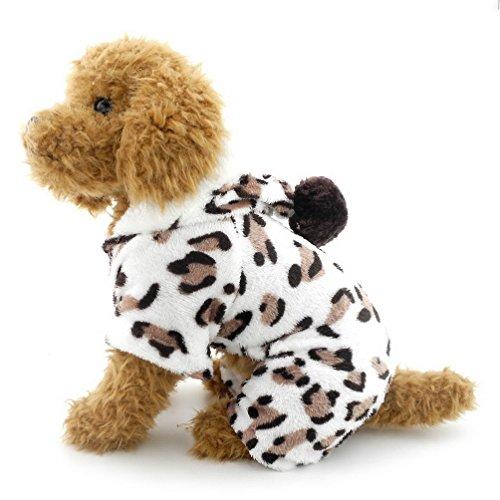 SELMAI Leopard Weiches Schlafanzüge Hoodie Samt Welpen Männchen und Weibchen Kleine Jumpsuit Pyjama Winter Kleine Haustier Katzen Pullover Yorkie Chihuahua Kleidung Bekleidung ()