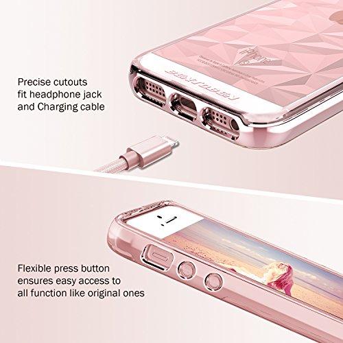 iPhone SE Hülle, iPhone 5 5S Hülle, BENTOBEN iPhone 5 5S kratzfest Silikon Handyhülle fleixibel TPU Cover mit hartem PC Schutzrahmen stoßfest Bumper Case für Apple iPhone SE 5 5S Rose Gold M968-Rose Gold