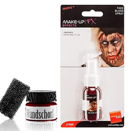keup Set Wundschorf 25g & Filmblut Kunstblut Spray Pumpflasche 28ml für Halloween Karneval Fasching ()