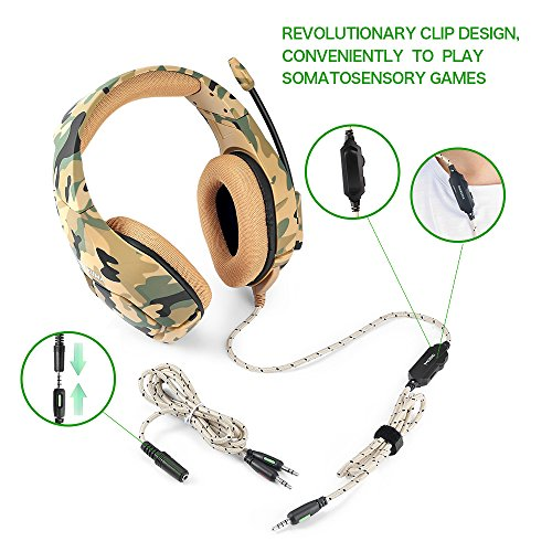 PS4 Wired Chat Headset, ONIKUMA K1-B Camouflage Stereo