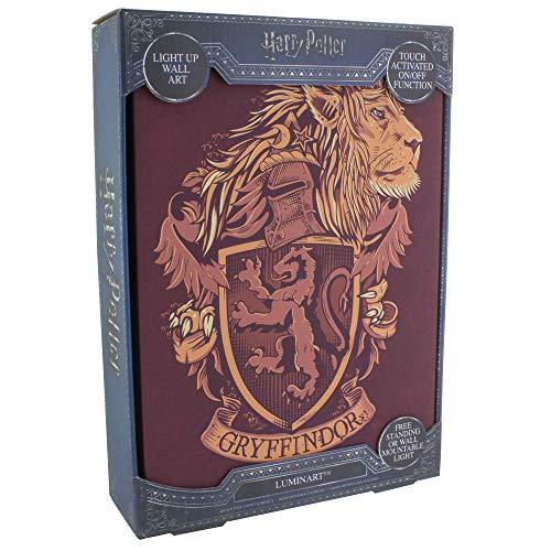 Harry Potter Wand Bild mit Licht Gryffindor Wappen 29,7x20x5,3cm Canvas