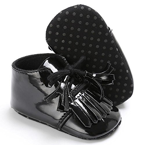 BZLine® Baby Quaste Soft Sohle Leder Schuhe Kleinkind Krippe prewalker Schuhe Schwarz