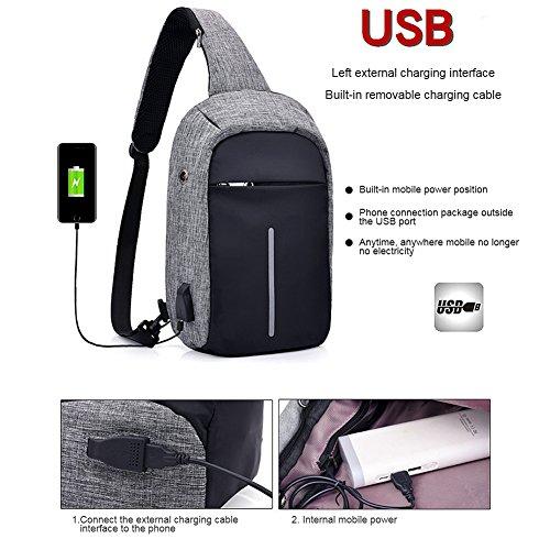 Zaino Yoome Sling con porta USB di ricarica Borsa da spalla per esterno resistente allacqua Sacchetto per crossbody sbilanciato per donna Uomo Bambina bambino da viaggio Daypack - Grigio scuro Blu