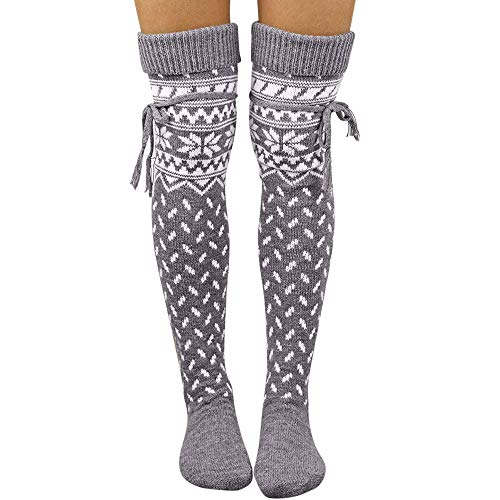 OSYARD Christmas Wollsocken Kniestrümpfe Socken Damen, Frauen Weihnachts Warme Hohe Lange Strümpfe Strick Überknie Socken Overknee Baumwolle Socken Halterlose Strümpfe Knee High Socks Kuschelsocken