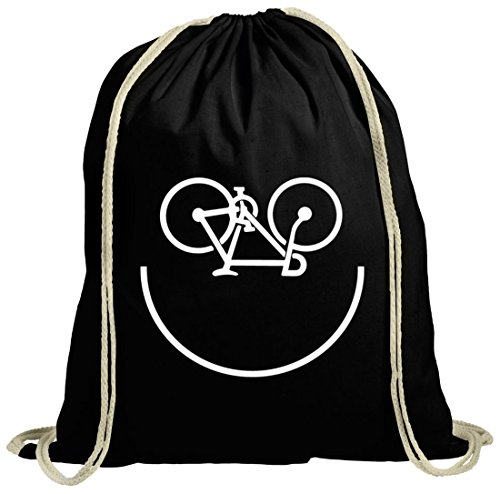 Sport natur Turnbeutel Bike Smiley schwarz natur
