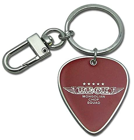 Beck Wing Logo Guitar Pick Metal Keychain
