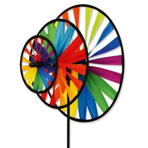 Windspiel - Magic Wheel Triple - UV-beständig und wetterfest - Windräder: Ø35cm/Ø25cm/Ø16cm, Höhe: 102cm - inkl. Fiberglasstab