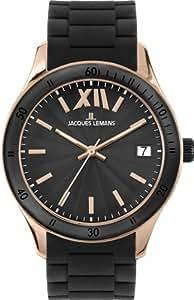 Jacques Lemans - 1-1622Q - Montre Mixte - Quartz Analogique - Bracelet Silicone Noir