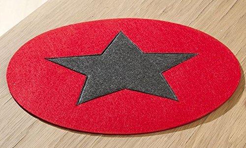 2 x SET DE TABLE rond feutre rouge avec étoile gris foncé