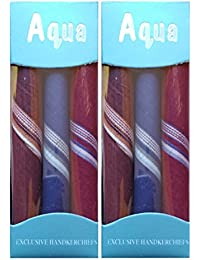 Indiacrafts Aqua Premium Men's Soft Color Cotton Handkerchief Pack of 3