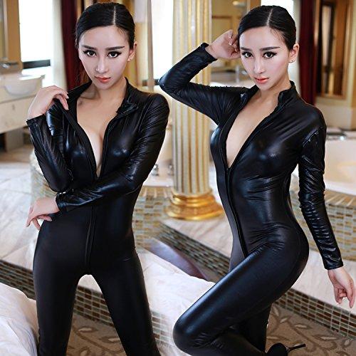 Des Adult Clubs Königin Kostüm - Roleeplay sexy Dessous Siam Leidenschaft Set schwarz Lackleder Königin mit einheitlichen Overalls öffnen Leder SM Club, S