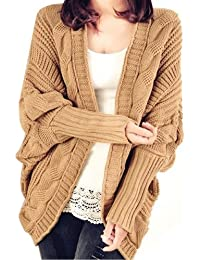 Dayiss® Khaki Fashion Damen gestricktes Cardigan Strickjacke knit pullover lange Coat Strick Mantel(53-73cm)