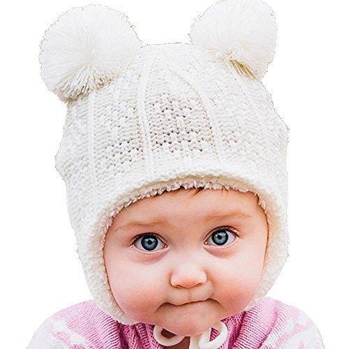 Bequeme Baby Strickmütze Hut für Herbst Winter, Ohrenschützer (S: 3 – 12 Monate, Cremiger (Mit Niedliche Halloween Tieren Bild)