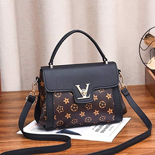 WOAIRAN Frauen Umhängetasche Mode Pu Vintage Druck Kleine Quadratische Tasche Umhängetasche Damen Handtasche Messenger Bags Schwarz