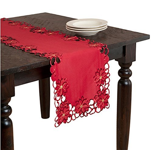 Holiday Christmas Embroidered and Cutwork Red Table Runner. 16x72 Rectangular. One Piece. by Flor Poinsettia