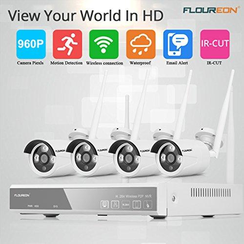 FLOUREON Überwachungkamera Set kabellos (4CH 1080P NVR Videorecorder + 4X 960P Überwachungskamera Außen Sicherheitskamera) Wasserdicht, Nachsicht P2P, H.264, Beweungsmelder (4 Wireless-kamera-sicherheitssystem)