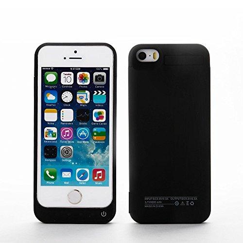 Lenuo 4200mah Akku Hülle für iPhone 5/5C/5S mit Halterung für Video sehen 3-in-1 External Batterie Power bank Backup Power Case für iPhone 5/5C/5S-4,0 Zoll (schwarz) Batterie-backup Iphone 4