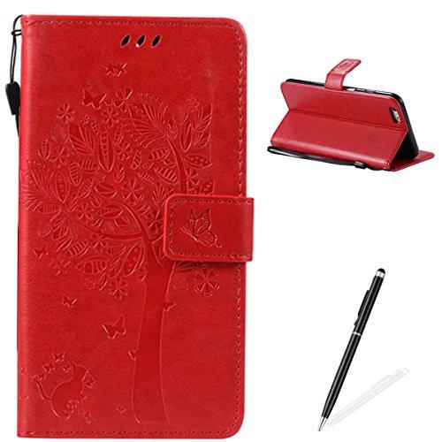 Apple iPhone 6 Plus 5.5 Custodia, Feeltech Sbalzato Albero Gatto Farfalla Modello Fiore Progettazione [Stylus Pen] Per il coperchio Apple iPhone 6 Plus 5.5 Case, Elegante Cuoio dellunità di Elaborazi Rosso