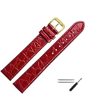 MARBURGER Uhrenarmband 20 mm Leder Rot - Rindsleder, Kroko Prägung - Inkl. Zubehör - Ersatzarmband, Schließe Gold...