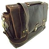 Messenger Aktentasche Wasserbüffel Leder Bag in 3 Größen Natural Leder Tasche mit Schloss (Tasche Grö. XL)