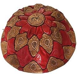 Puf Puff Pouff puf Marruecos marroquí auténtica Piel Leather étnico reposapiés B3