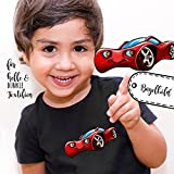 ilka parey wandtattoo-welt® Bügelbilder Applikation Rennauto Auto rot Bügelbild Bügelmotiv Fahrzeug Aufbügelbilder für Jungs bb058