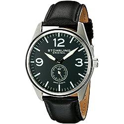 Stuhrling Original Aviator 931 Men's Quartz Watch with Black Dial Analogue Display and Black Leather Strap 931.01