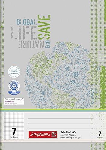 Brunnen 104510701 Recycling-Schulheft DIN A5 (16 Blatt, einfaches Heft)