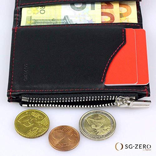 371301c3e9 Portafoglio nero/rosso uomo piccolo intelligente e sottile in vera pelle  con porta carte di credito, portamonete porta tessere, protezione anti-RFID