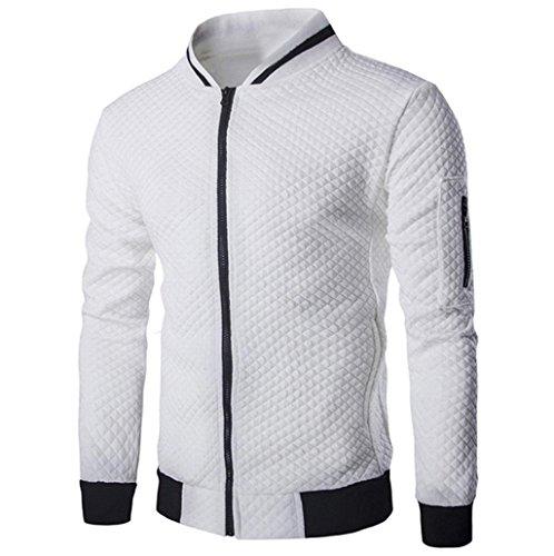 Tefamore Hommes Manche Longue Veste en Plaid Blouson à glissière Tops Veste Manteau Outwear (S, Blanc)