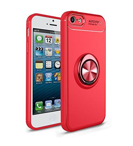 iPhone 5S Hülle , iPhone SE Handyhülle mit Ring Kickstand - Mosoris Premium Silikon Shell mit 360 Grad Drehbarer Ständer und Handyhalterung Auto Magnet Ring , Stoßfest Rüstung Schutzhülle Bumper Tasche Case Cover für iPhone 5 / 5S / SE,Rot + Rot