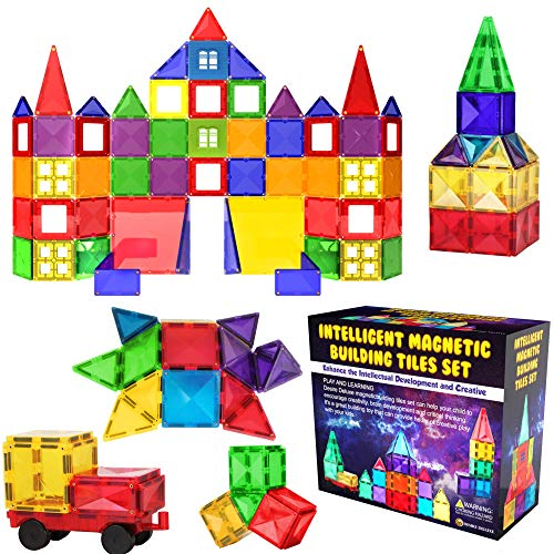 Desire Deluxe Magnetic Building Blocks Tiles Set 57PC - Educational Kids Toys for Boys Girls Age 3 4 5 6 7 Year Old - Learning Construction Toy