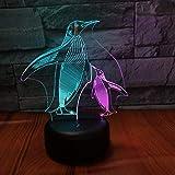 3D Tischlampe,SUAVER Optische Illusion Lampen 3d Lampe,7 Farben Nachtlicht LED Dekoratives Licht berühren Kreative Geschenk Dekorationen(Pinguine)