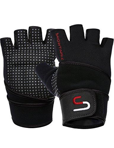 SHOWTIMEZ Trainingshandschuhe Fitness Handschuhe Grips für Gewichtheben - Schwarz/Rot - S